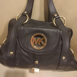 Michael Kors Fulton Leather Satchel in Black with